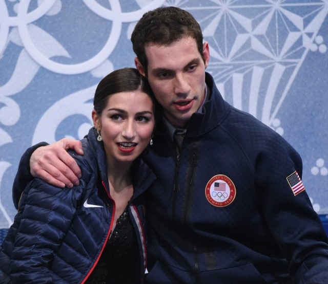 Americans Marissa Castelli and Simon Shnapir perform in the pairs free skate program during the Sochi 2014 Olympic Winter Games at Iceberg Skating Palace. USA (Robert Deutsch-USA TODAY Sports)
