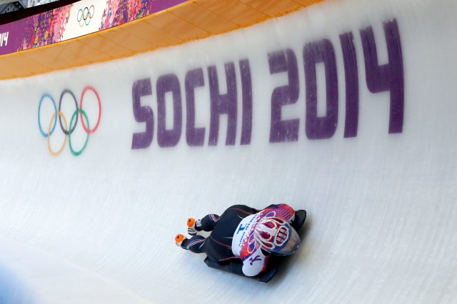 Noelle Pikus-Pace (USA) competes in ladies' skeleton during the Sochi 2014 Olympic Winter Games at Sanki Sliding Center. (Kevin Jairaj-USA TODAY Sports)