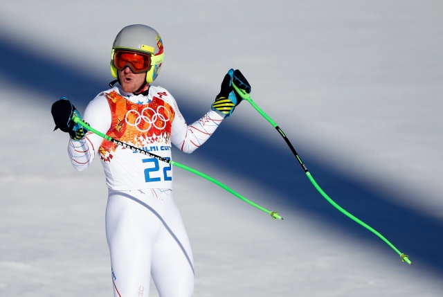 Ted Ligety reacts after his run in the men's super combined downhill during the Sochi 2014 Olympic Winter Games at Rosa Khutor Alpine Center. (Rob Schumacher-USA TODAY Sports)