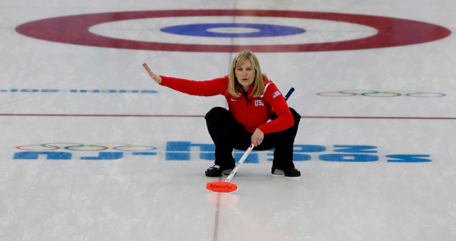 Erika Brown (USA) directs her teammates during the women's curling round robin session seven in the Sochi 2014 Olympic Winter Games at Ice Cube Curling Center.  (Jeff Swinger-USA TODAY Sports)