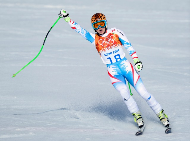 Anna Fenninger (AUT) reacts after her run in the ladies' alpine skiing super G during the Sochi 2014 Olympic Winter Games at Rosa Khutor Alpine Center. (Jack Gruber-USA TODAY Sports)