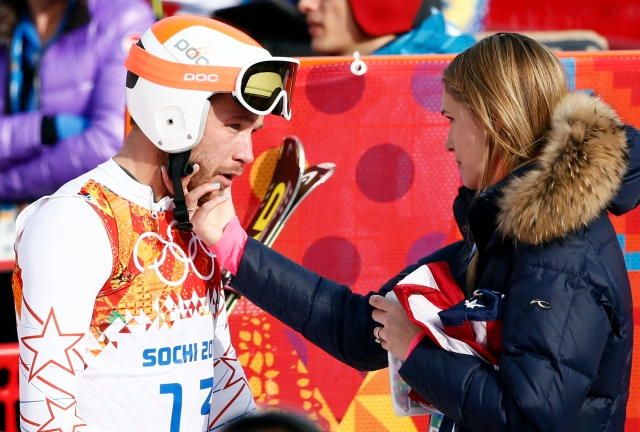 Bode Miller (USA) reacts with his wife Morgan Beck Miller. (Rob Schumacher-USA TODAY Sports)