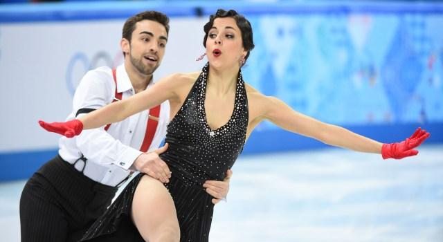 Sara Hurtado and Adria Diaz of Spain perform in the ice dance short dance.(Robert Deutsch-USA TODAY Sports)