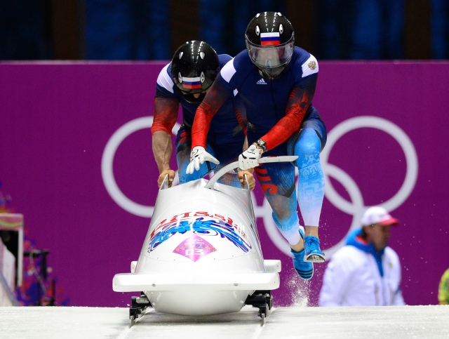 Russian team piloted by Alexander Zubkov with Alexey Voevoda compete in two-man bobsleigh during the Sochi 2014 Olympic Winter Games at Sanki Sliding Center. (John David Mercer-USA TODAY Sports