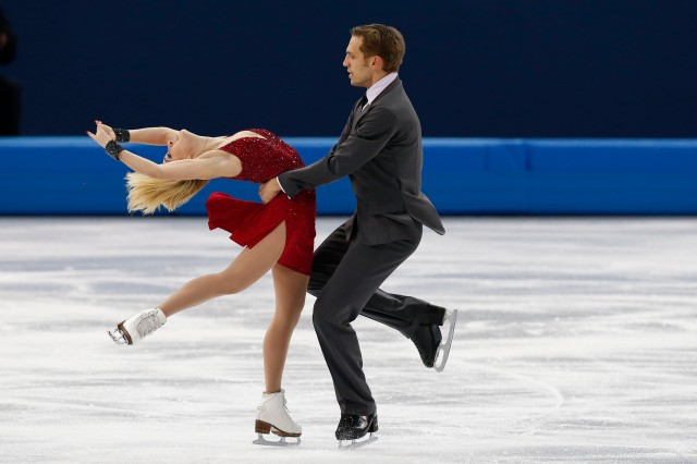 Deividas Stagniunas and Isabella Tobias (LTU) perform during the ice dance free dance program during the Sochi 2014 Olympic Winter Games at Iceberg Skating Palace. (Robert Deutsch-USA TODAY Sports)