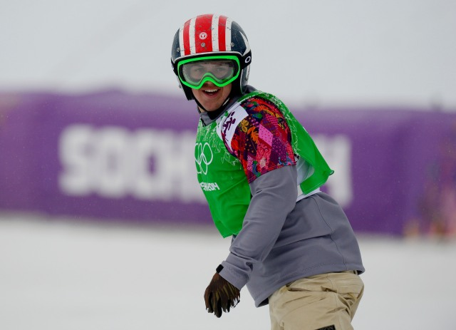 Trevor Jacob (USA) during the small final run of the men's snowboard cross finals.  ( John David Mercer-USA TODAY Sports)