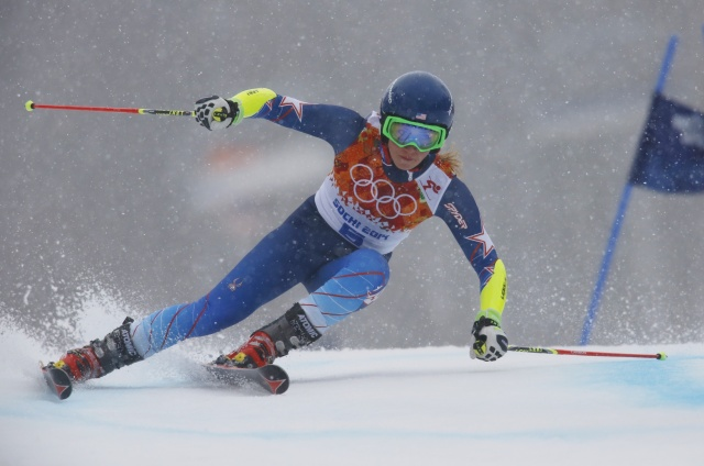 Mikaela Shiffrin in ladies' giant slalom final run during the Sochi 2014 Olympic Winter Games at Rosa Khutor Alpine Center (Nathan Bilow - USA TODAY Sports)