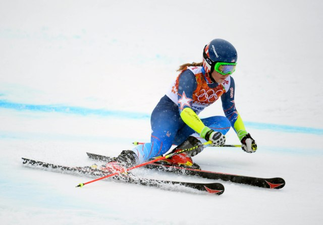 Mikaela Shiffrin (USA) on her second run in the ladies giant slalom during the Sochi 2014 Olympic Winter Games at Rosa Khutor Alpine Center. (Eric Bolte-USA TODAY Sports)
