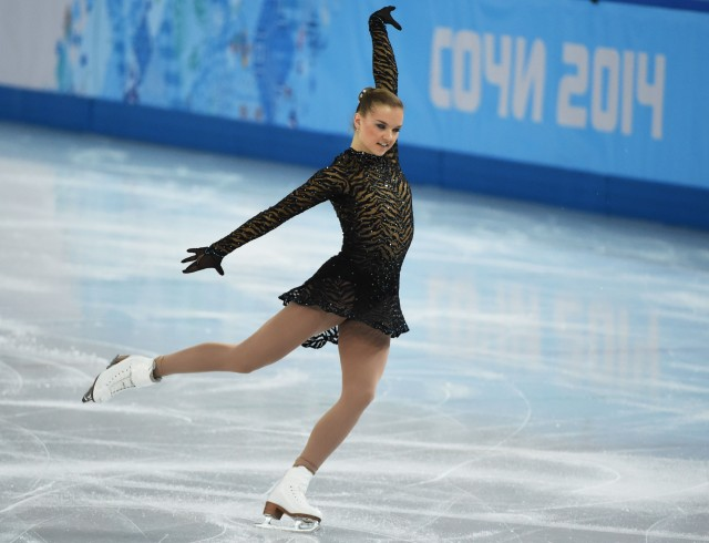Natalia Popova of Ukraine performs in the ladies short program during the Sochi 2014 Olympic Winter Games at Iceberg Skating Palace. (Kyle Terada-USA TODAY Sports)