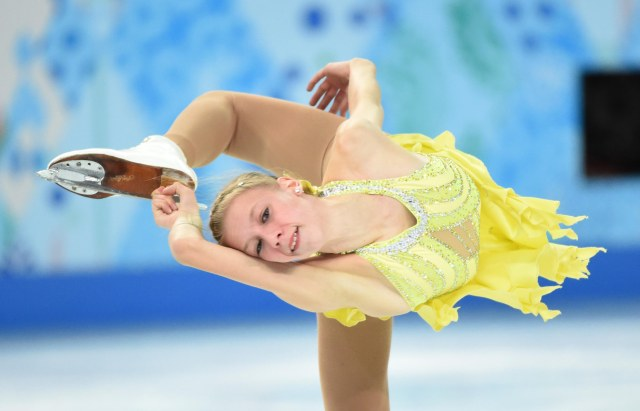 Polina Edmunds of the USA performs in the ladies short program during the Sochi 2014 Olympic Winter Games at Iceberg Skating Palace.  (Robert Deutsch-USA TODAY Sports)