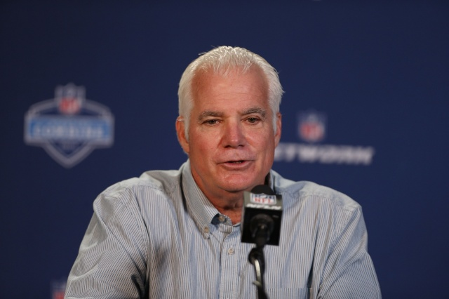 Atlanta Falcons coach Mike Smith speaks during a press conference during the 2014 NFL Combine at Lucas Oil Stadium. ( Brian Spurlock - USA TODAY Sports)