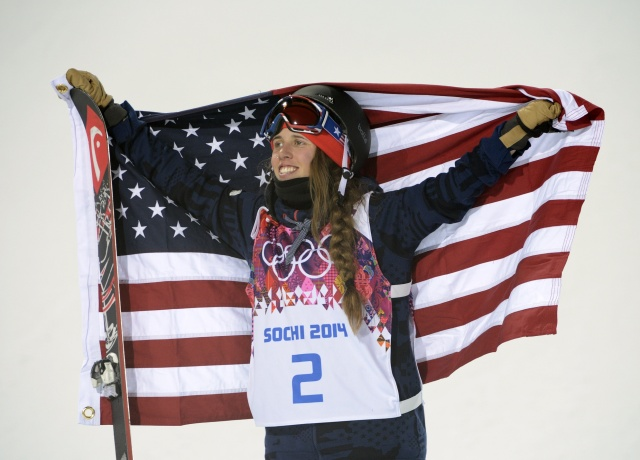 Maddie Bowman celebrates winning gold in the ladies' ski halfpipe final during the Sochi 2014 Olympic Winter Games. (Jack Gruber - USA TODAY Sports)