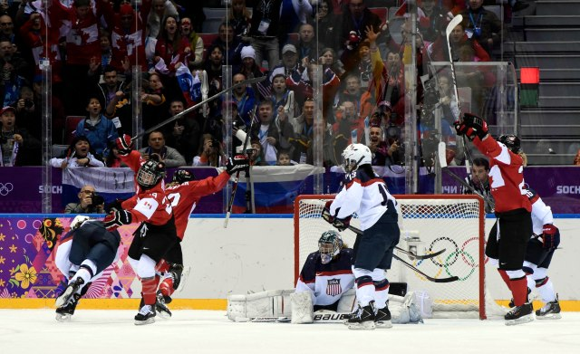 USA goalkeeper Jessie Vetter (middle) reacts after giving up a third period goal to Canada forward Marie-Philip Poulin (29). (Scott Rovak-USA TODAY Sports)