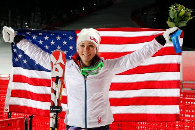 Mikaela Shiffrin (USA) celebrates winning gold in ladies' alpine skiing slalom during the Sochi 2014 Olympic Winter Games at Rosa Khutor Alpine Center. (Nathan Bilow-USA TODAY Sports)