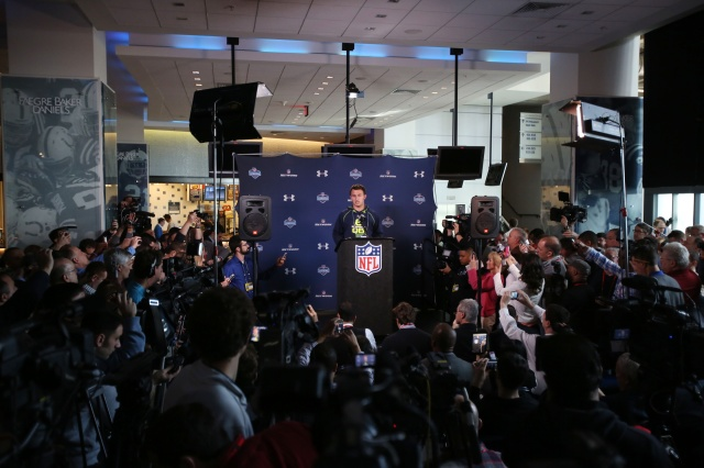 Texas A&M Aggies quarterback Johnny Manziel speaks to the media in a press conference during the 2014 NFL Combine at Lucas Oil Stadium. (Brian Spurlock-USA TODAY Sports)