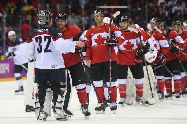 Jonathan Quick goes through the handshake line after Team USA's loss. (Winslow Townson, USA TODAY Sports)