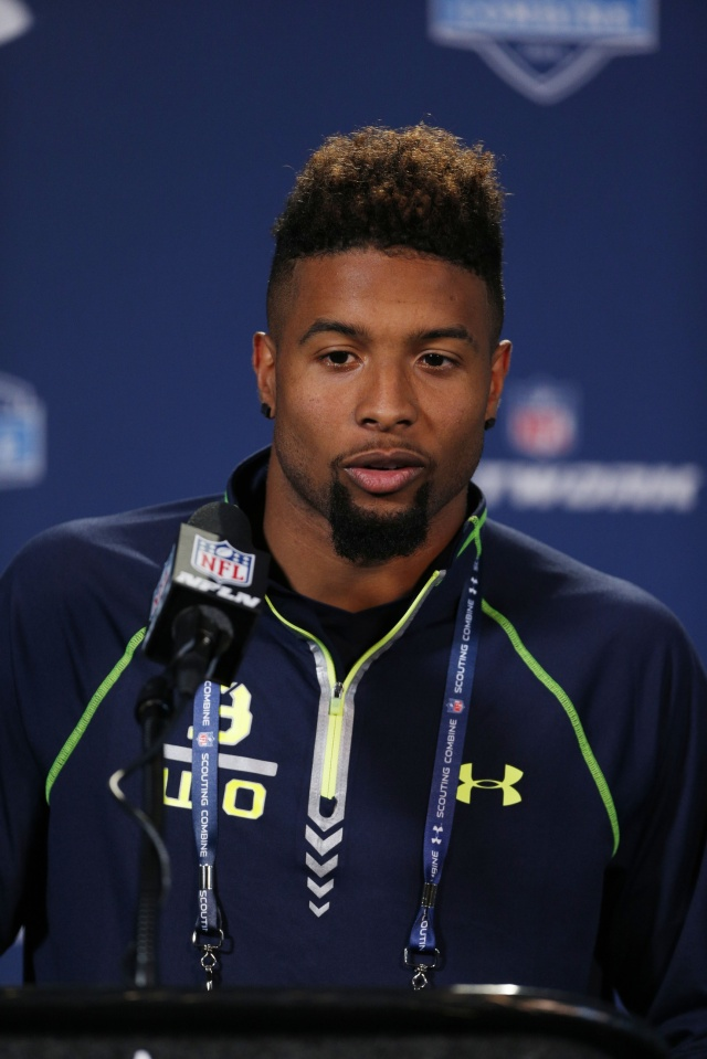 LSU Tigers wide receiver Odell Beckham speaks to the media in a press conference during the 2014 NFL Combine at Lucas Oil Stadium. (Brian Spurlock - USA TODAY Sports)