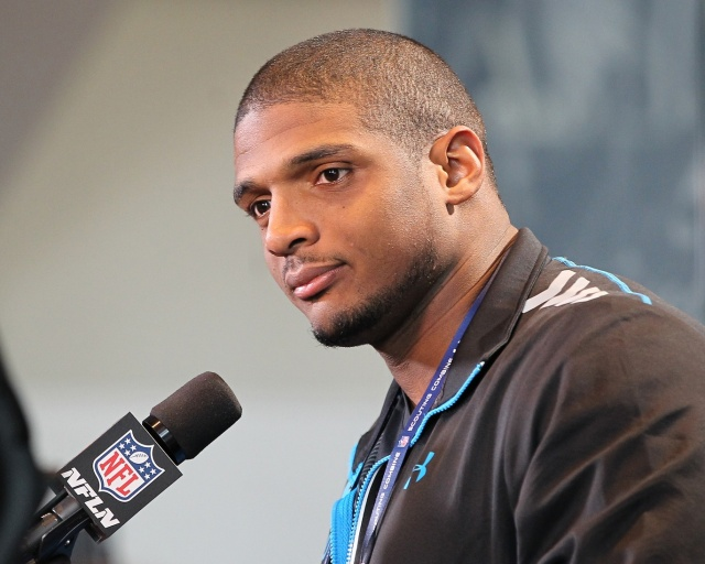 Missouri Tigers defensive end Michael Sam speaks at the NFL Combine at Lucas Oil Stadium. (Pat Lovell - USA TODAY Sports)
