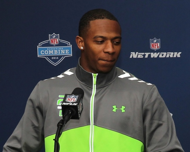 Oklahoma State defensive back Justin Gilbert speaks to the media during the 2014 NFL Combine at Lucas Oil Stadum. (Pat Lovell - USA TODAY Sports)