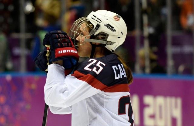 USA forward Alex Carpenter reacts after losing 3-2 to Canada. (Richard Mackson, USA TODAY Sports)