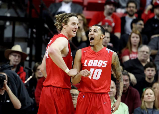 New Mexico's Cameron Bairstow (left) and Kendall Williams are a potent inside-out combo. (AP Photo/Isaac Brekken)