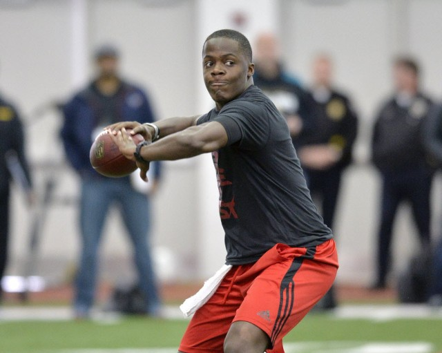 Louisville QB Teddy Bridgewater throws at the Cardinals pro day. (Timothy D. Easley - Associated Press)