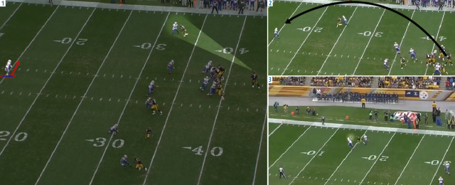 (1) Roethlisberger stares down his receiver, which allows Byrd to jump the route. (2) A late throw ends up too far inside, (3) and Byrd easily picks it off. Image courtesy of NFL Game Rewind.