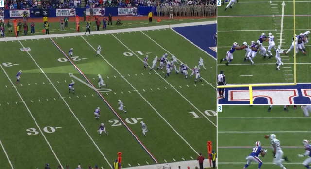 (1) Smith wants to hit his inside receiver on a crossing pattern, (2) but stares him down and doesn't see Byrd, (3) who steps in front of the pass for any easy interception. Image courtesy of NFL Game Rewind.