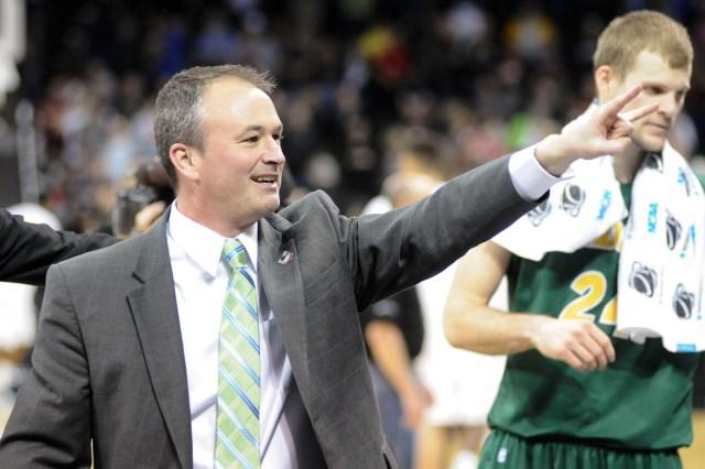 Saul Phillips celebrates North Dakota State's win.  (James Snook, USA TODAY Sports)