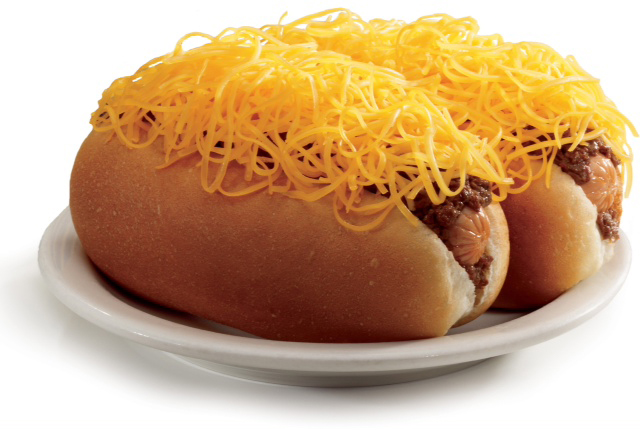 Is that a mound of cheese covering a slathering of cinnamon chili on top of a scrumptious hot dog? Yes, yes it is. (Courtesy of Skyline Chili.)