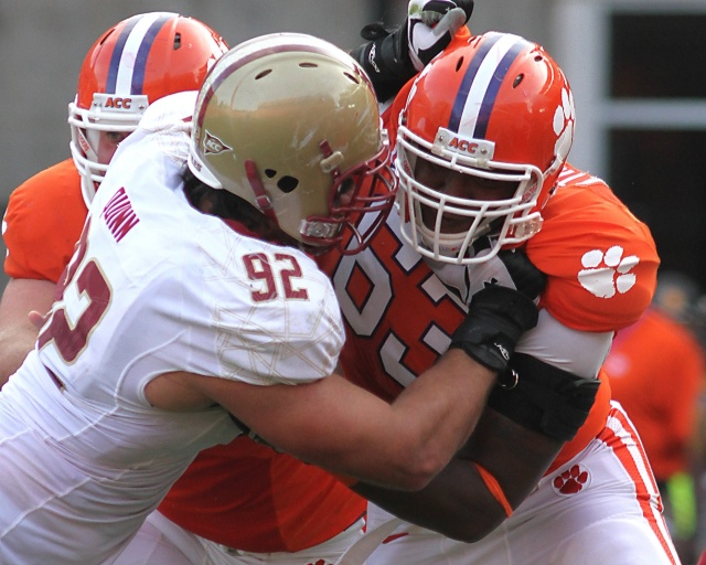 Clemson Tigers offensive lineman Brandon Thomas blocks Boston College defensive tackle Dillion Quinn at Clemson Memorial Stadium. (Joshua S. Kelly - USA TODAY Sports)