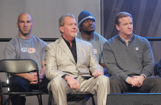Indianapolis Colts owner Jim Irsay (front row left) and NFL commissioner Roger Goodell (right) during Play 60 Kids Day at the NFL Experience at the Indiana Convention Center. (Kirby Lee/Image of Sport - USA TODAY Sports)