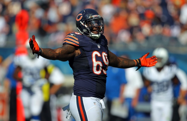 Chicago Bears defensive end Henry Melton celebrates a sack against the Indianapolis Colts at Soldier Field. (Dennis Wierzbicki - USA TODAY Sports)