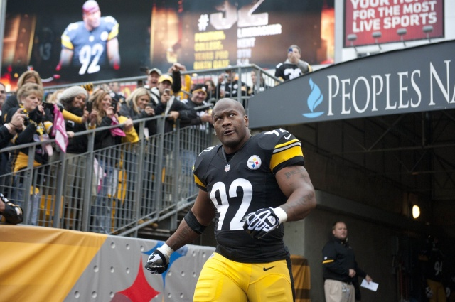 Linebacker James Harrison is introduced to the Pittsburgh crowd prior to their game against the Philadelphia Eagles at Heinz Field. (Vincent Pugliese - USA TODAY Sports)