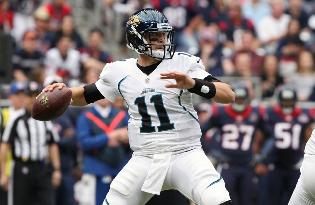 Jacksonville Jaguars quarterback Blaine Gabbert attempts a pass during the first quarter against the Houston Texans at Reliant Stadium. (Troy Taormina - USA TODAY Sports)