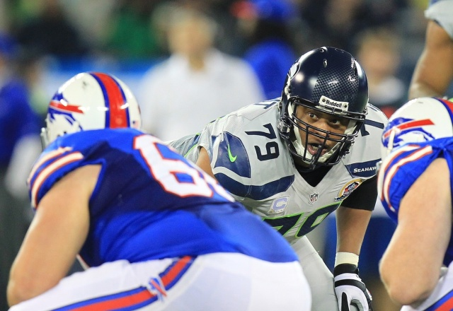 Red Bryant lines up at defensive end as a member of the Seattle Seahawks. (Kevin Hoffman - USA TODAY Sports)