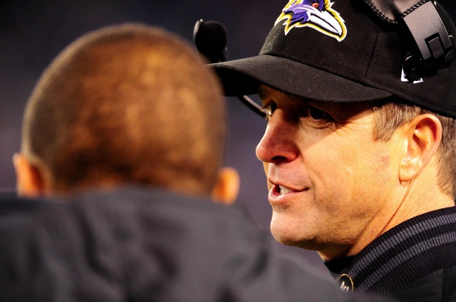 Baltimore Ravens head coach John Harbaugh talks to running back Ray Rice during a game against the New York Giants. (Evan Habeeb - USA TODAY Sports)
