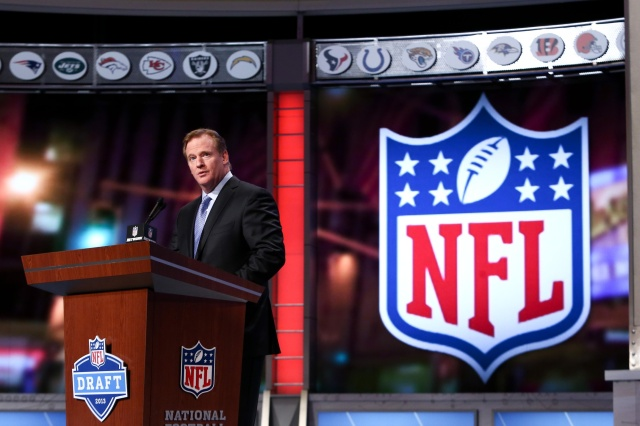 NFL commissioner Roger Goodell speaks before the second round of the 2013 NFL Draft at Radio City Music Hall. (Debby Wong -USA TODAY Sports)