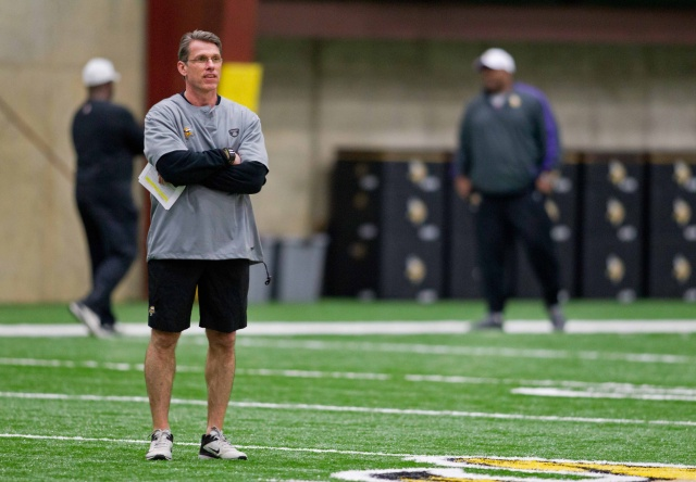 Minnesota Vikings general manager Rick Spielman looks over players as they stretch at the Rookie Minicamp at Winter Park. (Bruce Kluckhohn - USA TODAY Sports)