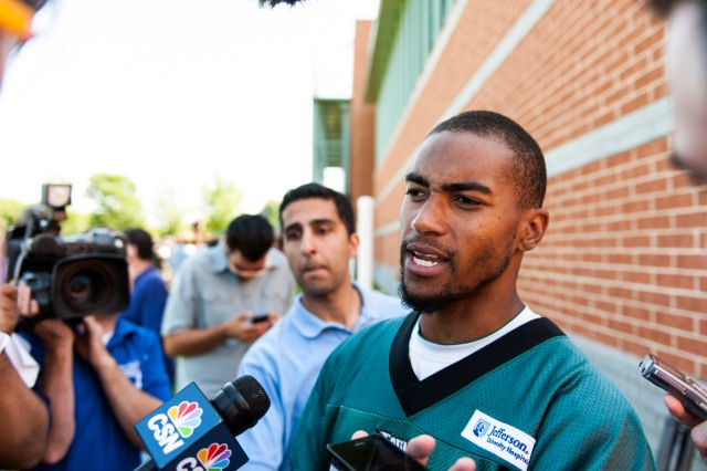DeSean Jackson addresses the media during Eagles minicamp at the NovaCare Complex. (Howard Smith-USA TODAY Sports)