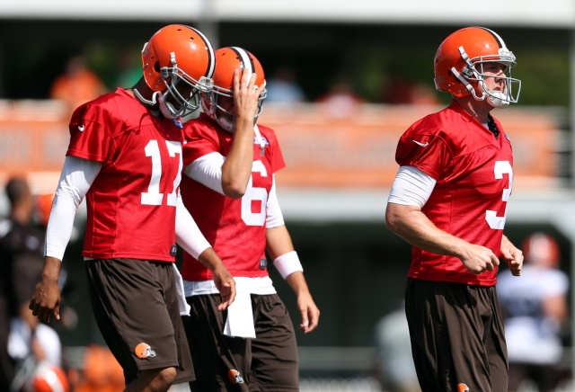 Cleveland Browns quarterback Brandon Weeden (3), quarterback Jason Campbell (17) and quarterback Brian Hoyer (6) during training camp at the Cleveland Browns Training Facility. (Ron Schwane - USA TODAY Sports)