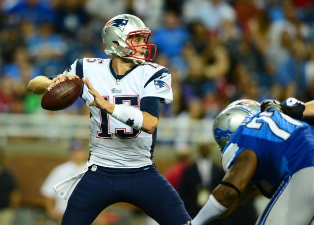 New England Patriots quarterback Ryan Mallett looks to pass during a preseason game against the Detroit Lions at Ford Field. (Andrew Weber-USA TODAY Sports)