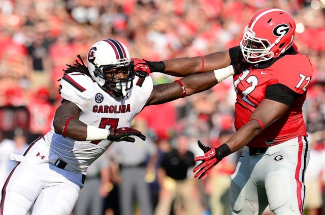 South Carolina Gamecocks defensive end Jadeveon Clowney works against the blocking by Georgia Bulldogs offensive tackle Kenarious Gates at Sanford Stadium. (Dale Zanine - USA TODAY Sports)