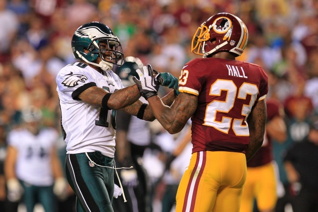 DeSean Jackson (10) and DeAngelo Hall (23) have been fierce competitors in the past. They could be teammates in the future. (Geoff Burke - USA TODAY Sports)