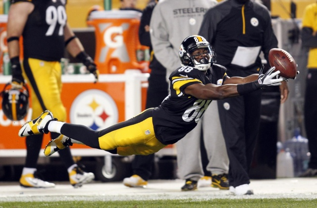 Pittsburgh Steelers wide receiver Emmanuel Sanders stretches out for a pass against the Chicago Bears at Heinz Field. (Charles LeClaire - USA TODAY Sports)