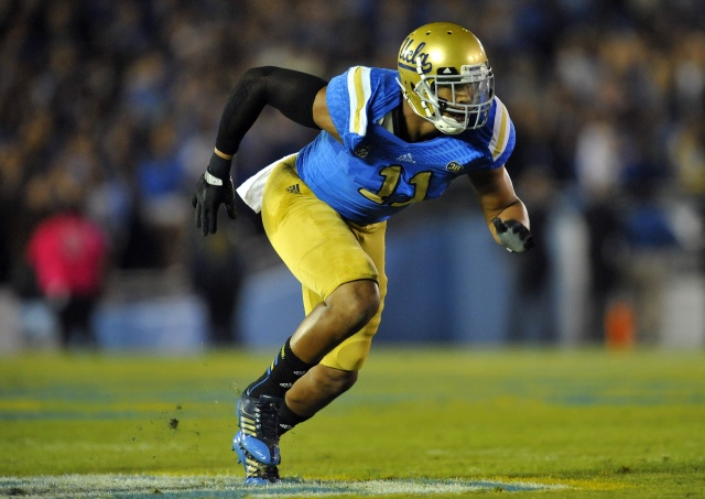 UCLA Bruins linebacker Anthony Barr defends against the California Golden Bears at the Rose Bowl. (Gary A. Vasquez-USA TODAY Sports)