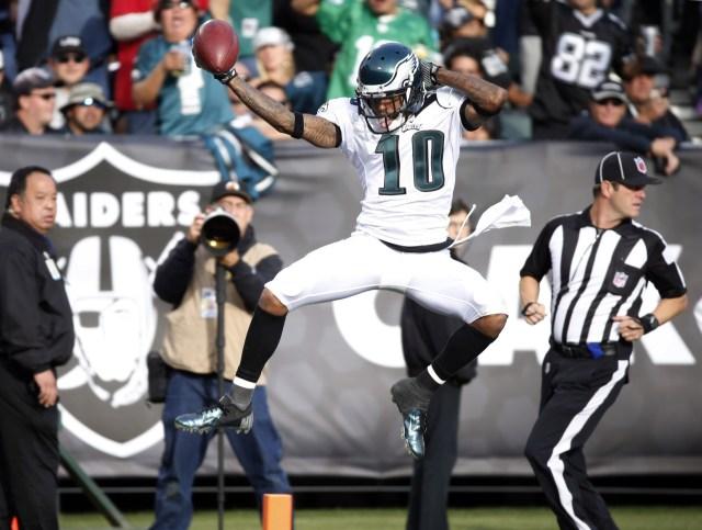 Philadelphia Eagles wide receiver DeSean Jackson celebrates after scoring a touchdown against the Oakland Raiders. (Bob Stanton - USA TODAY Sports)