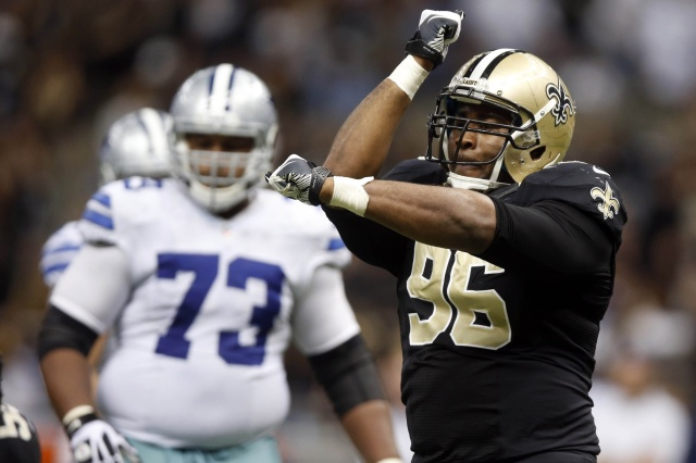 New Orleans Saints defensive tackle Tom Johnson celebrates after a sack against the Dallas Cowboys at Mercedes-Benz Superdome. (Derick E. Hingle - USA TODAY Sports)