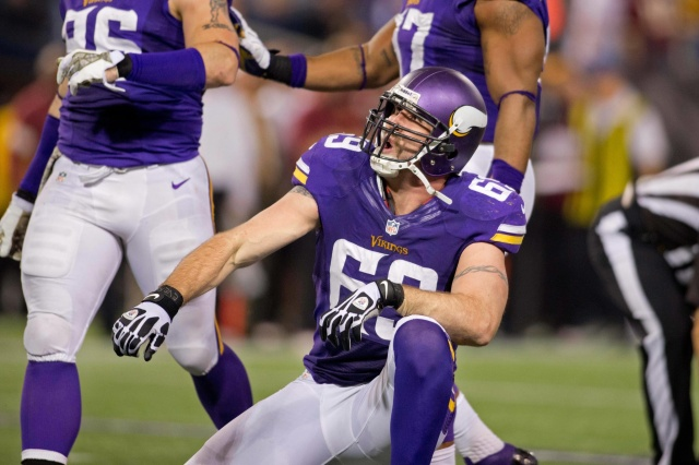 Minnesota Vikings defensive end Jared Allen celebrates his sack against the Washington Redskins at Mall of America Field at H.H.H. Metrodome. (Bruce Kluckhohn-USA TODAY Sports)