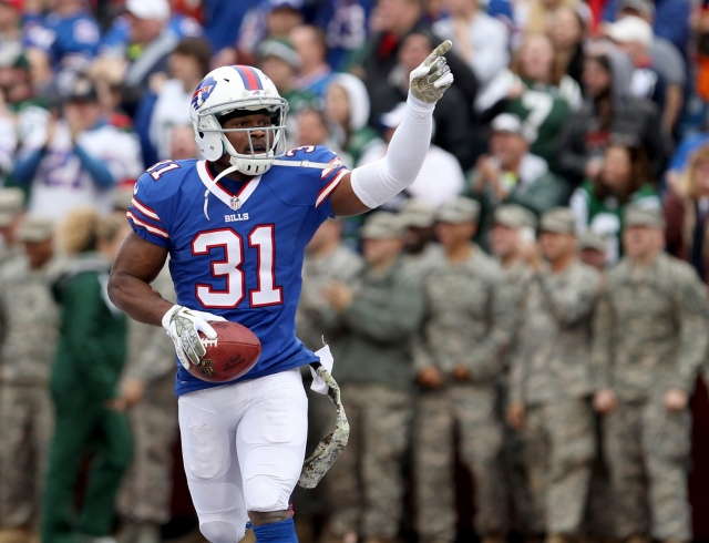 Buffalo Bills free safety Jairus Byrd celebrates an interception against the New York Jets at Ralph Wilson Stadium. (Timothy T. Ludwig - USA TODAY Sports)